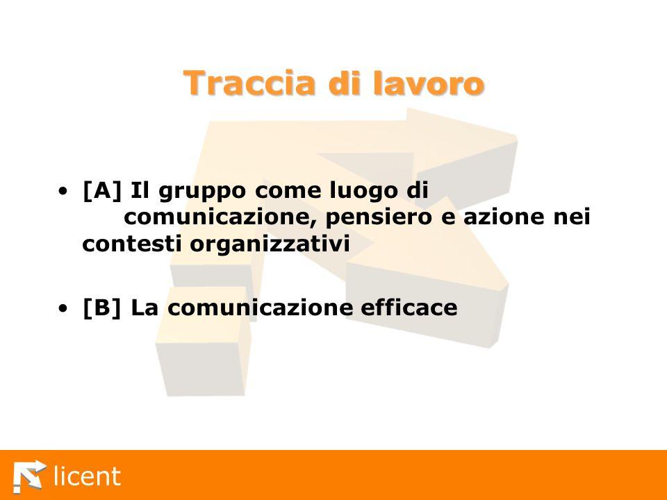 Traccia di lavoro [A] Il gruppo come luogo di comunicazione, pensiero e azione nei contesti organizzativi.